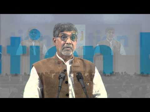 Nobel Peace Laureate Kailash Satyarthi speaks at the Globe Instruction Discussion board 2015