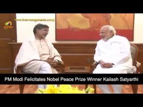 PM Narendra Modi felicitates Nobel Peace Prize Winner Kailash Satyarthi
