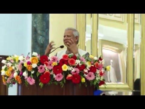 Nobel Laureate Mr. Muhammad Yunus talking at the start of Yuvaan Wellness Tea