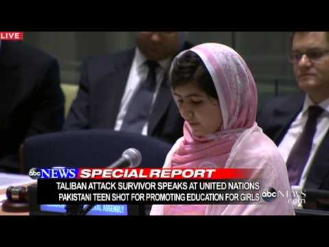 Woman Shot in Head by Taliban, Speaks at UN: Malala Yousafzai United Nations Speech 2013